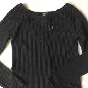 Black Stretchy Cut Out Ribbed Tee Top NWOT